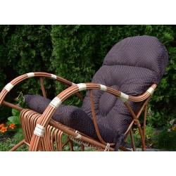 Poducha na fotel bujany - Brąz w białe groszki