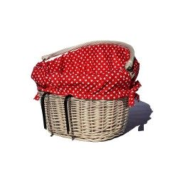 Kosz na rower ecru z wkładem - Czerwony Serca