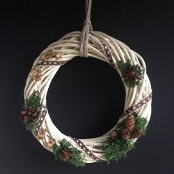 Świąteczny Wianek wiklinowy 25 biały