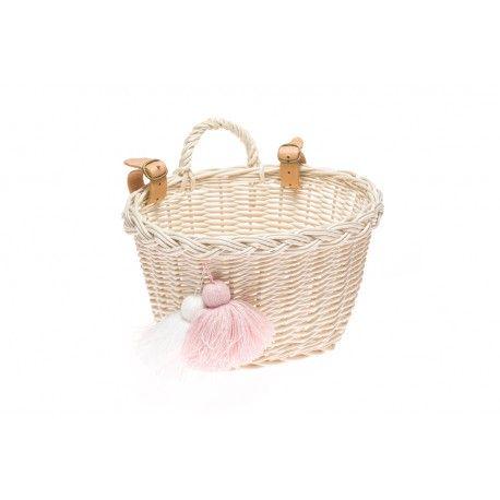Koszyczek dziecięcy na rower 01 - pudrowy róż